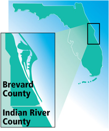 Map of Brevard and Indian River Counties in Florida