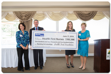 Pictured L-R  (Director of Health First Foundation, Jeanene Donilon, Foundation Board Chairman, Bill Troner, Health First Chief Nursing Officer, Connie Bradley and Health First Chief Human Resources Officer, Paula Just present check for Health First Nurses in the amount $102,500.)
