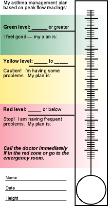 A gauge for measuring the low and peak of asthma