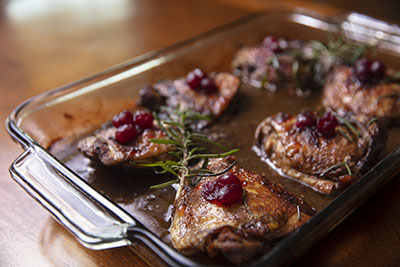 Roasted Cranberry Balsamic Chicken in Pan